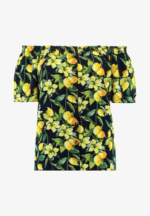 BUTTON DOWN BARDOT LEMON PRINT - Blusa - navy