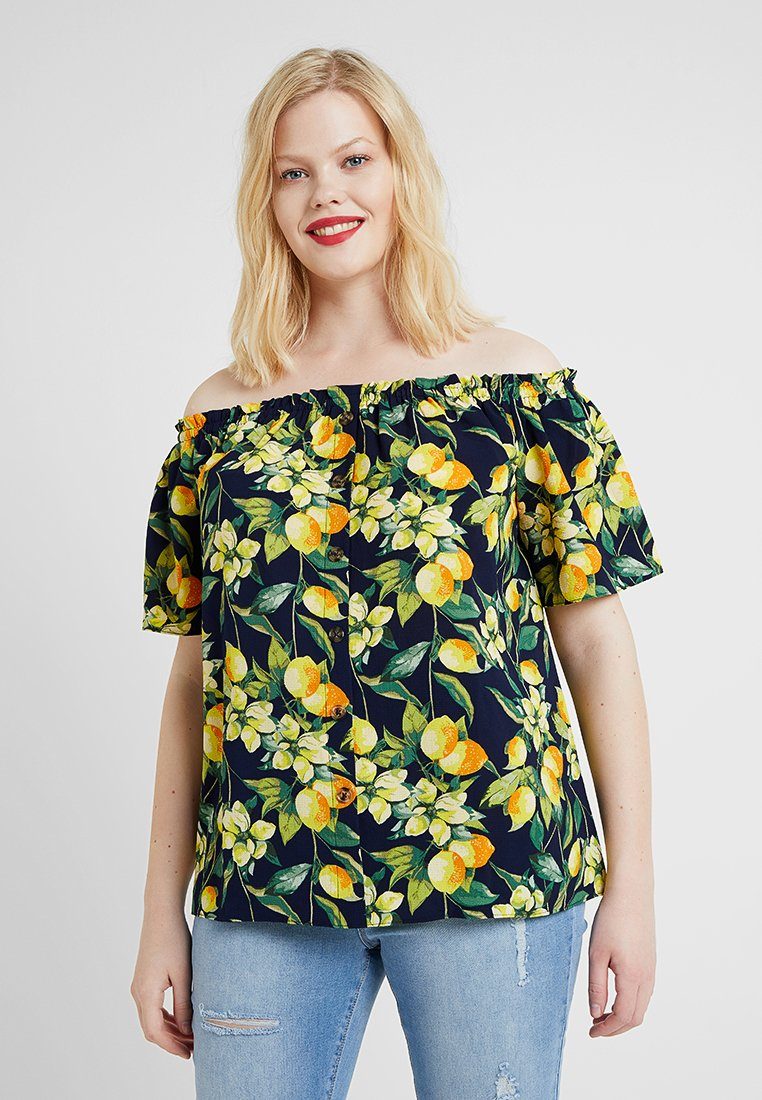 Dorothy Perkins Curve - BUTTON DOWN BARDOT LEMON PRINT - Blouse - navy