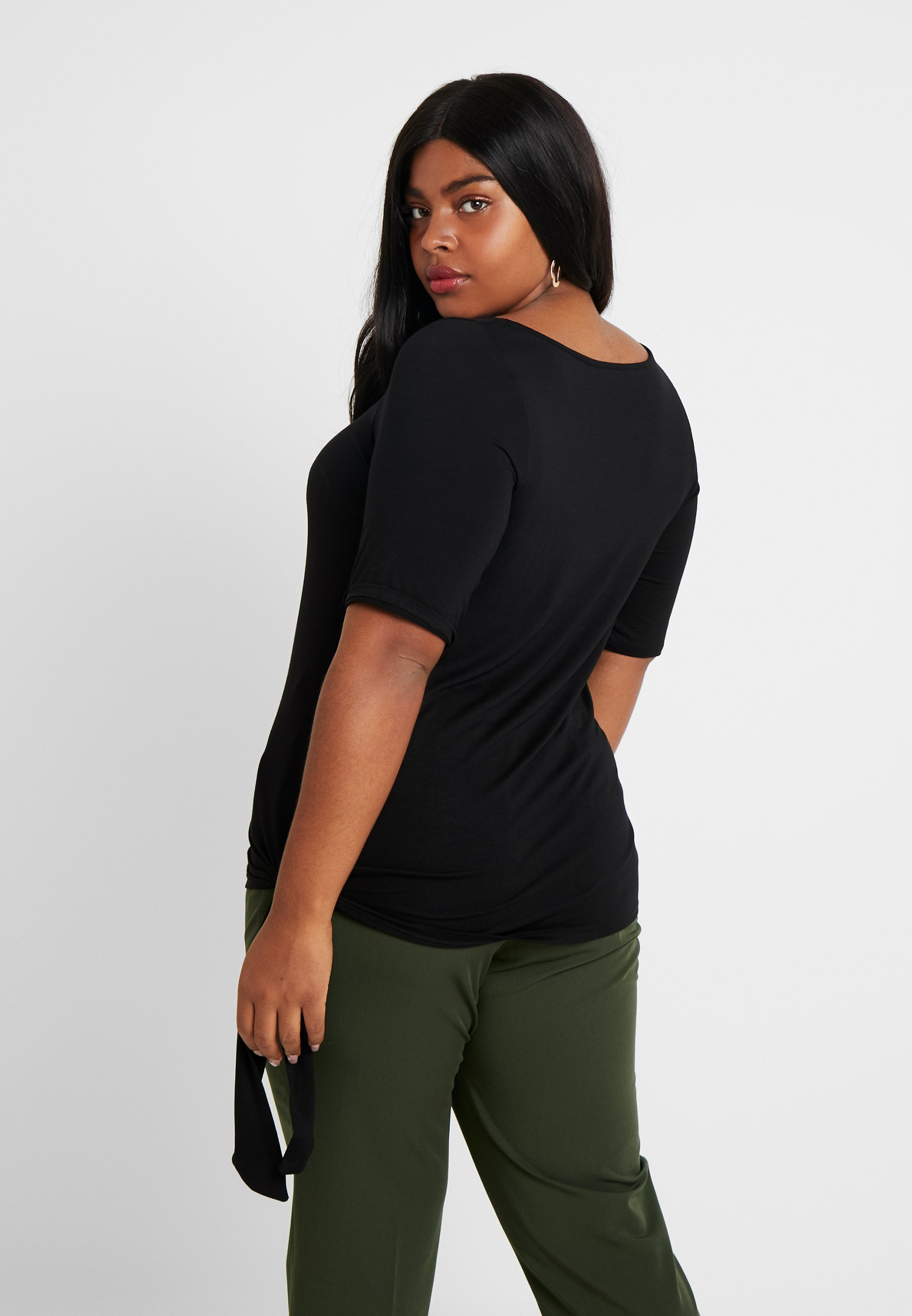 Dorothy Perkins Curve TIE SIDE - T-Shirt print black