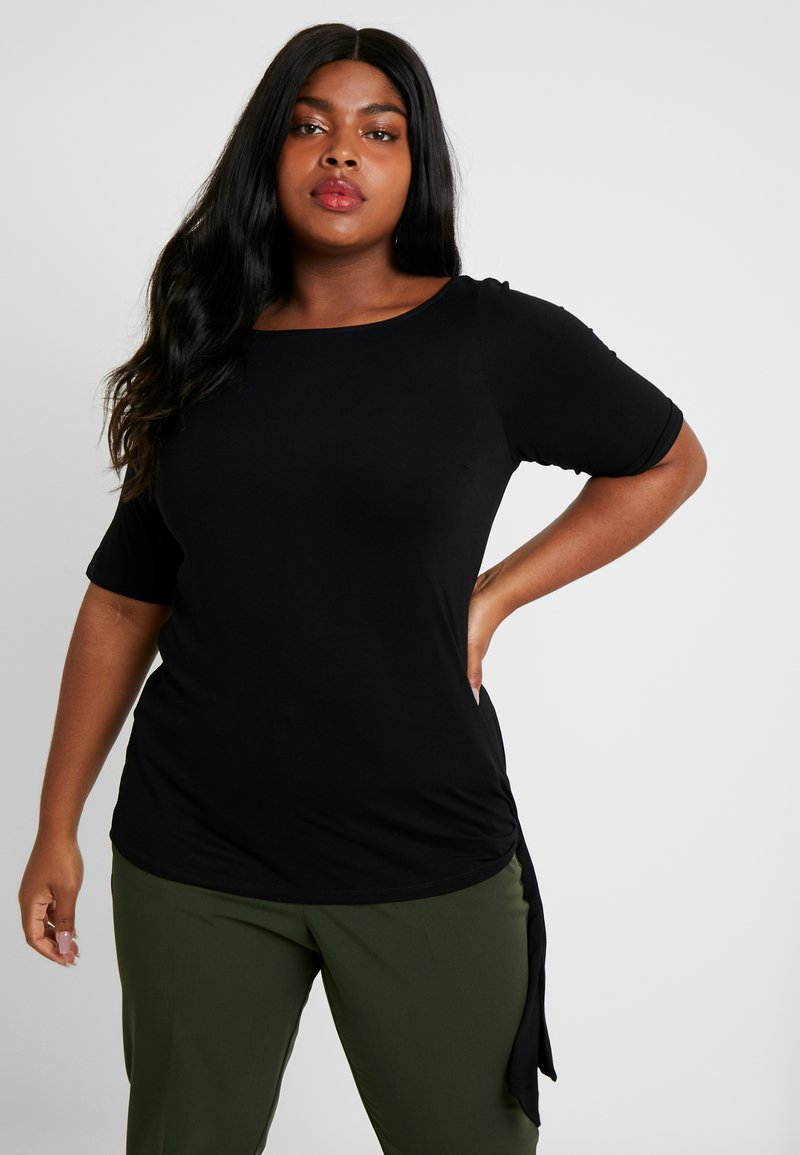 Dorothy Perkins Curve - TIE SIDE - Camiseta estampada - black