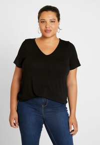 Dorothy Perkins Curve - V POCKET TEE - T-shirts - black - 0