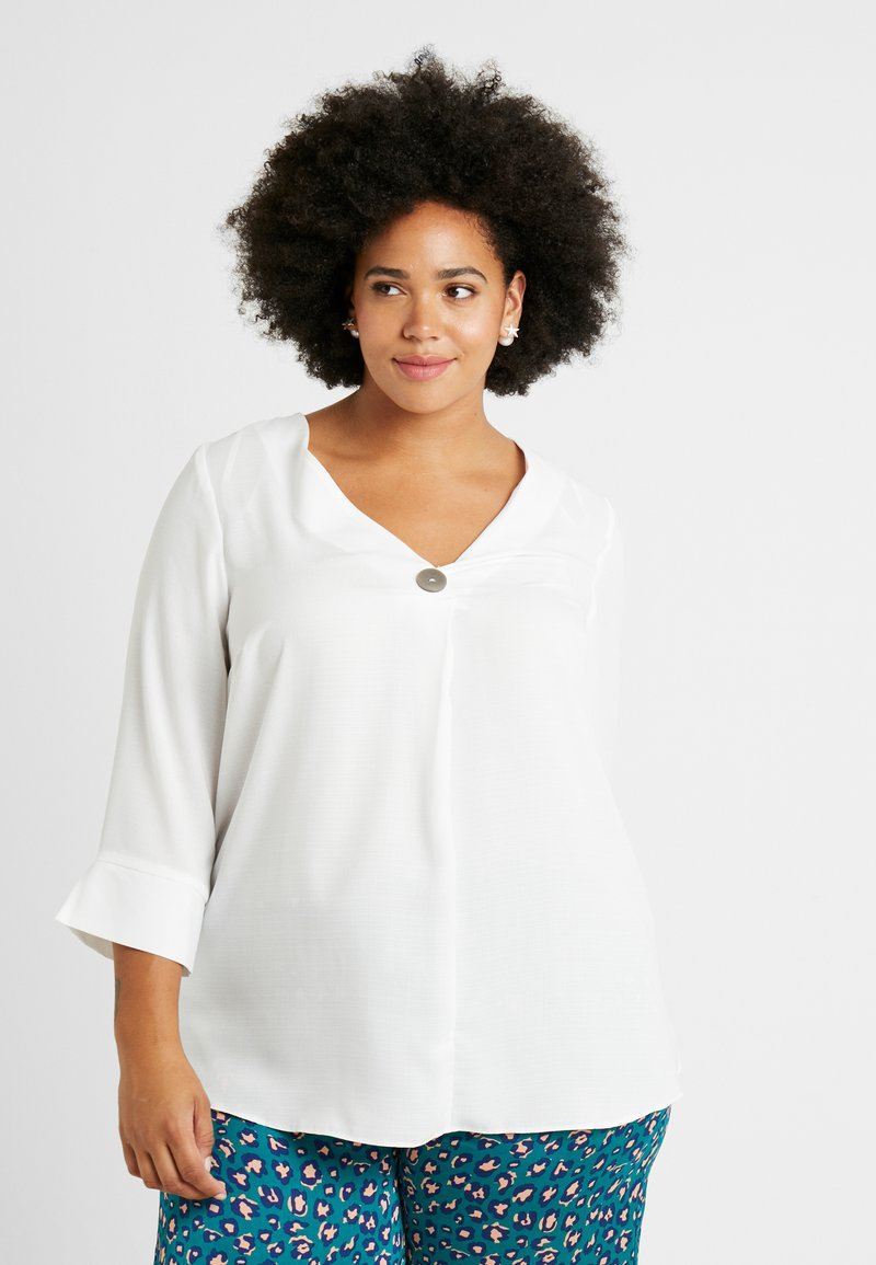 Dorothy Perkins Curve - OVER HEAD BUTTON - Blusa - white