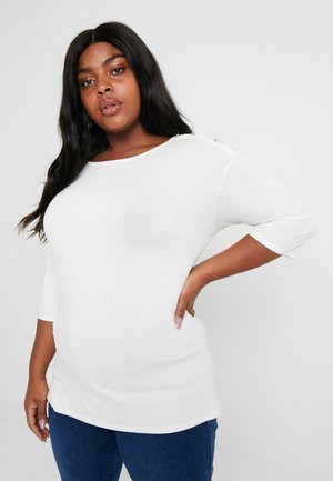 SLEEVE BUTTON SHOULDER - Top s dlouhým rukávem - ivory