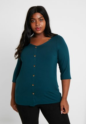V NECK BUTTON THROUGH - Topper langermet - teal