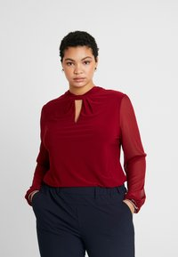 Dorothy Perkins Curve - WINE ITY TRIM KNOT NECK LONG SLEEVE BLOUSE - Pitkähihainen paita - oxblood - 0