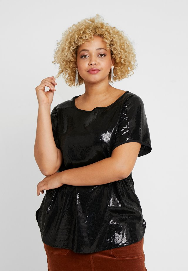 SEQUIN TEE - T-shirt con stampa - black