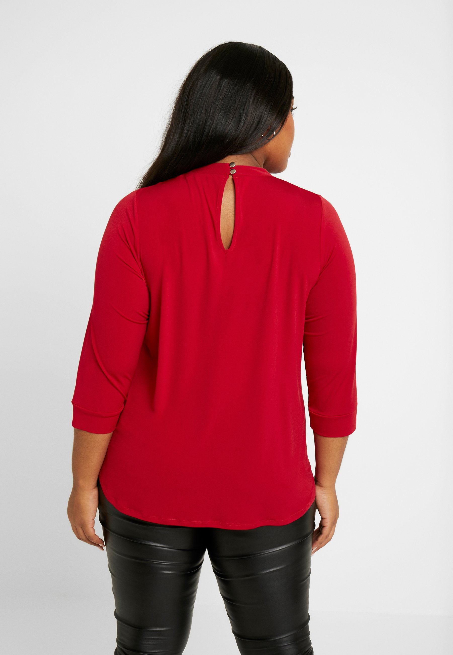 Dorothy Perkins Curve ITY PLEAT NECK - T-shirt à manches longues red