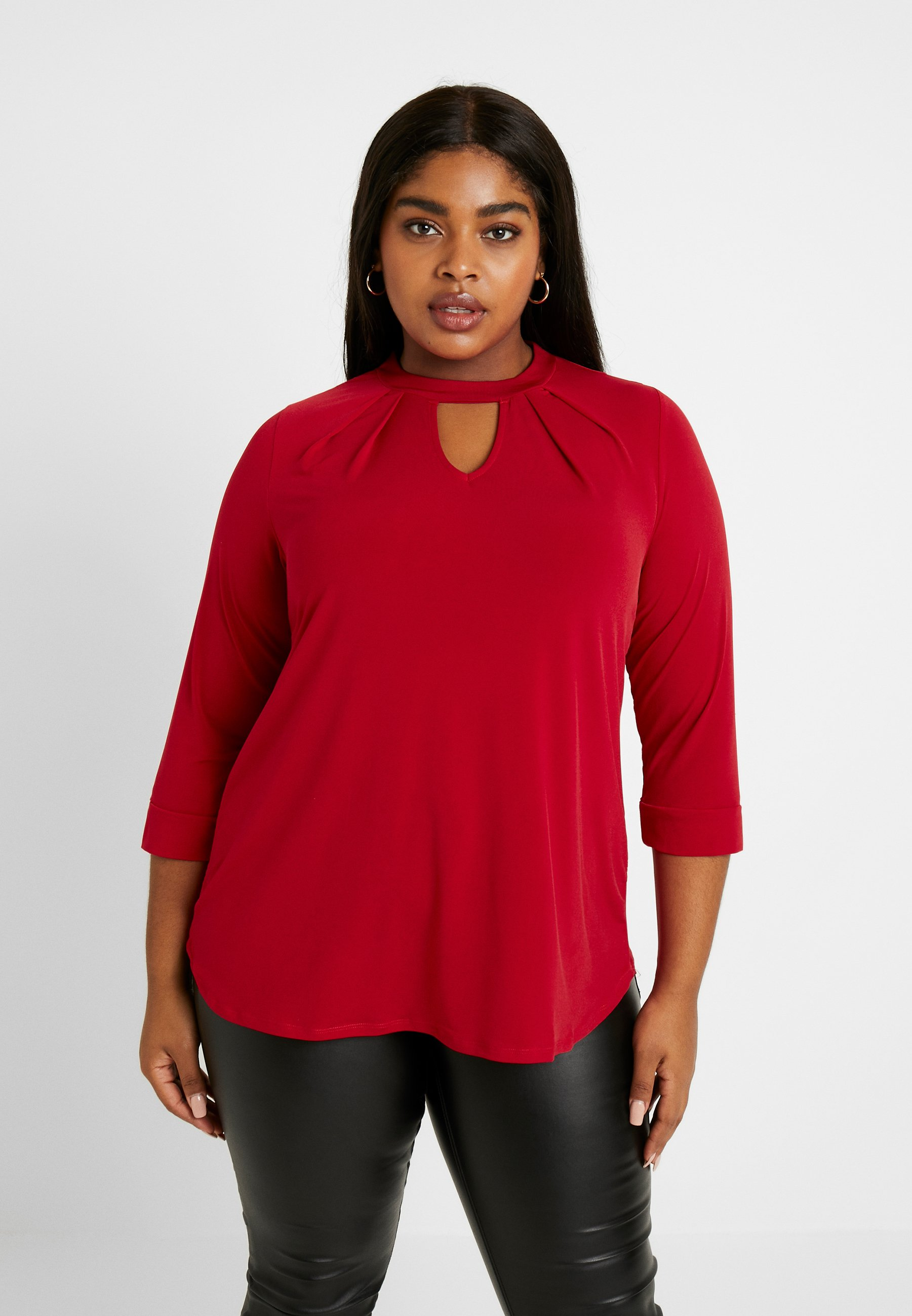 Dorothy Perkins Curve ITY PLEAT NECK - Topper langermet - red