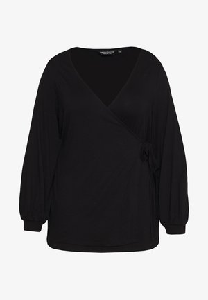 WRAP BALLOON SLEEVE - Long sleeved top - black
