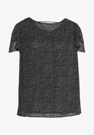 CURVE SHOULDER RUFFLE DOUBLE LAYER TOP BLACK SPOT - Bluse - black