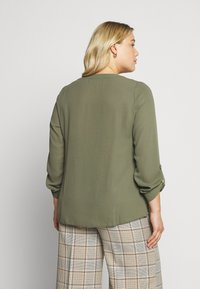 Dorothy Perkins Curve - DOUBLE BUTTON COLLARLESS ROLL SLEEVE - Blouse - khaki - 2