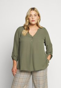 Dorothy Perkins Curve - DOUBLE BUTTON COLLARLESS ROLL SLEEVE - Blouse - khaki - 0