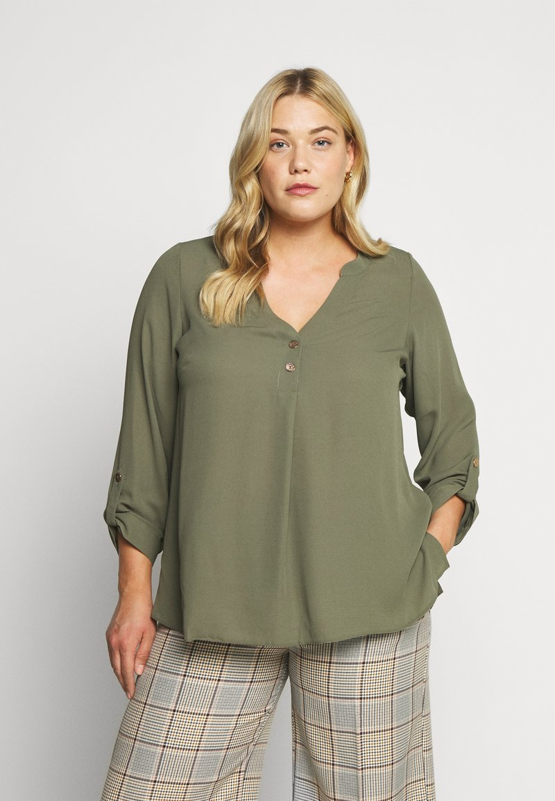 Dorothy Perkins Curve - DOUBLE BUTTON COLLARLESS ROLL SLEEVE - Blouse - khaki