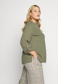 Dorothy Perkins Curve - DOUBLE BUTTON COLLARLESS ROLL SLEEVE - Blouse - khaki - 3