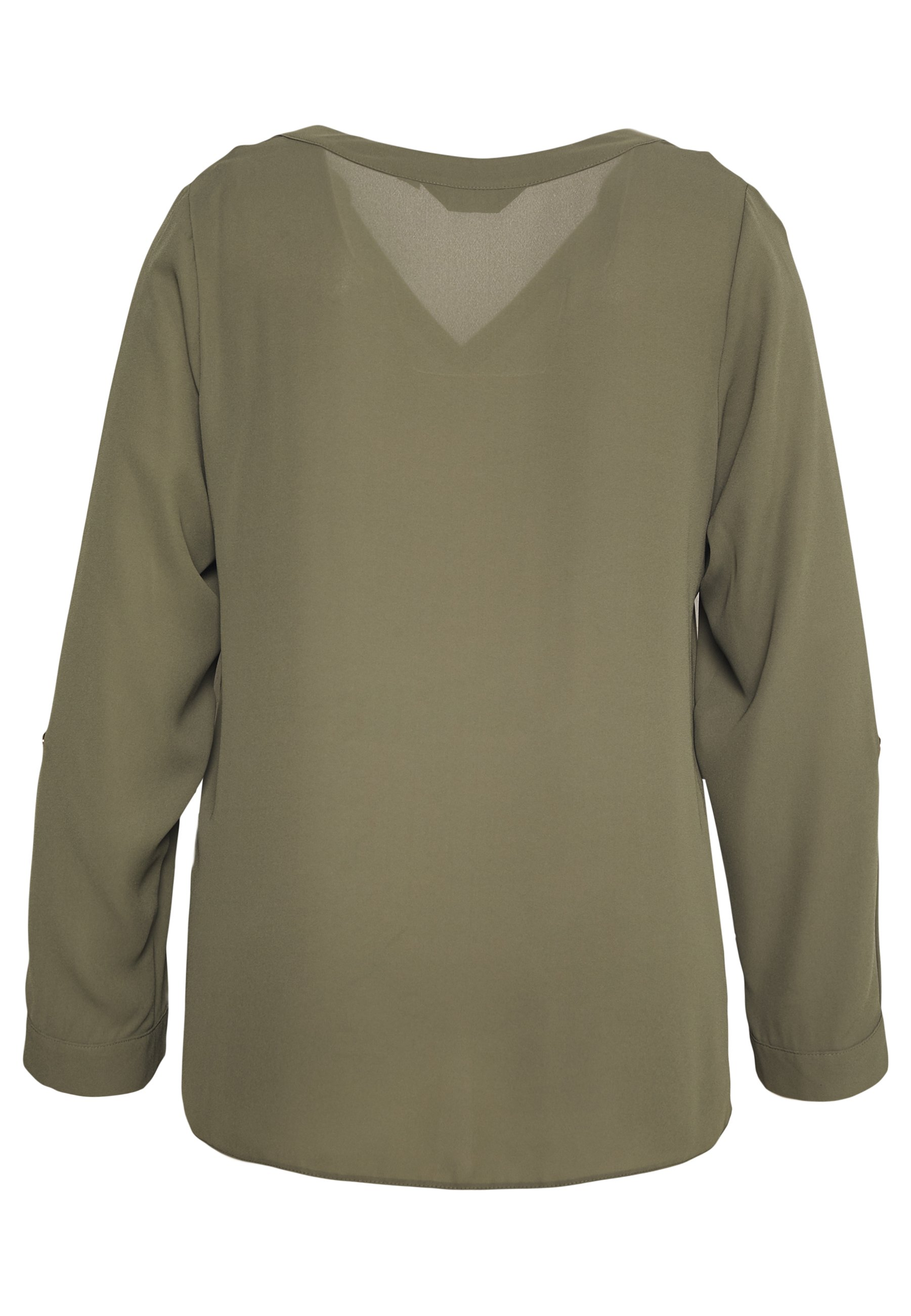 Dorothy Perkins Curve CURVE DOUBLE BUTTON COLLARLESS ROLL SLEEVE SHIRT - Tunika - khaki