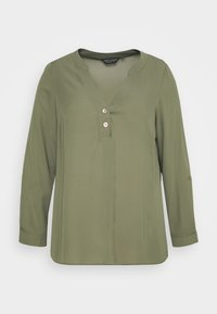 Dorothy Perkins Curve - DOUBLE BUTTON COLLARLESS ROLL SLEEVE - Blouse - khaki - 4