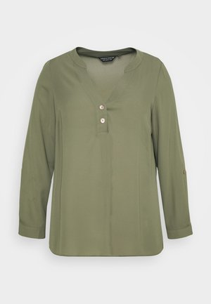 CURVE DOUBLE BUTTON COLLARLESS ROLL SLEEVE SHIRT - Tunic - khaki