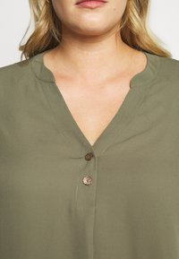 Dorothy Perkins Curve - DOUBLE BUTTON COLLARLESS ROLL SLEEVE - Blouse - khaki - 5