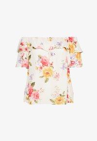 Dorothy Perkins Curve - CURVE DOUBLE RUFFLE PRETTY FLORAL BARDOT TOP - Blouse - ivory - 0