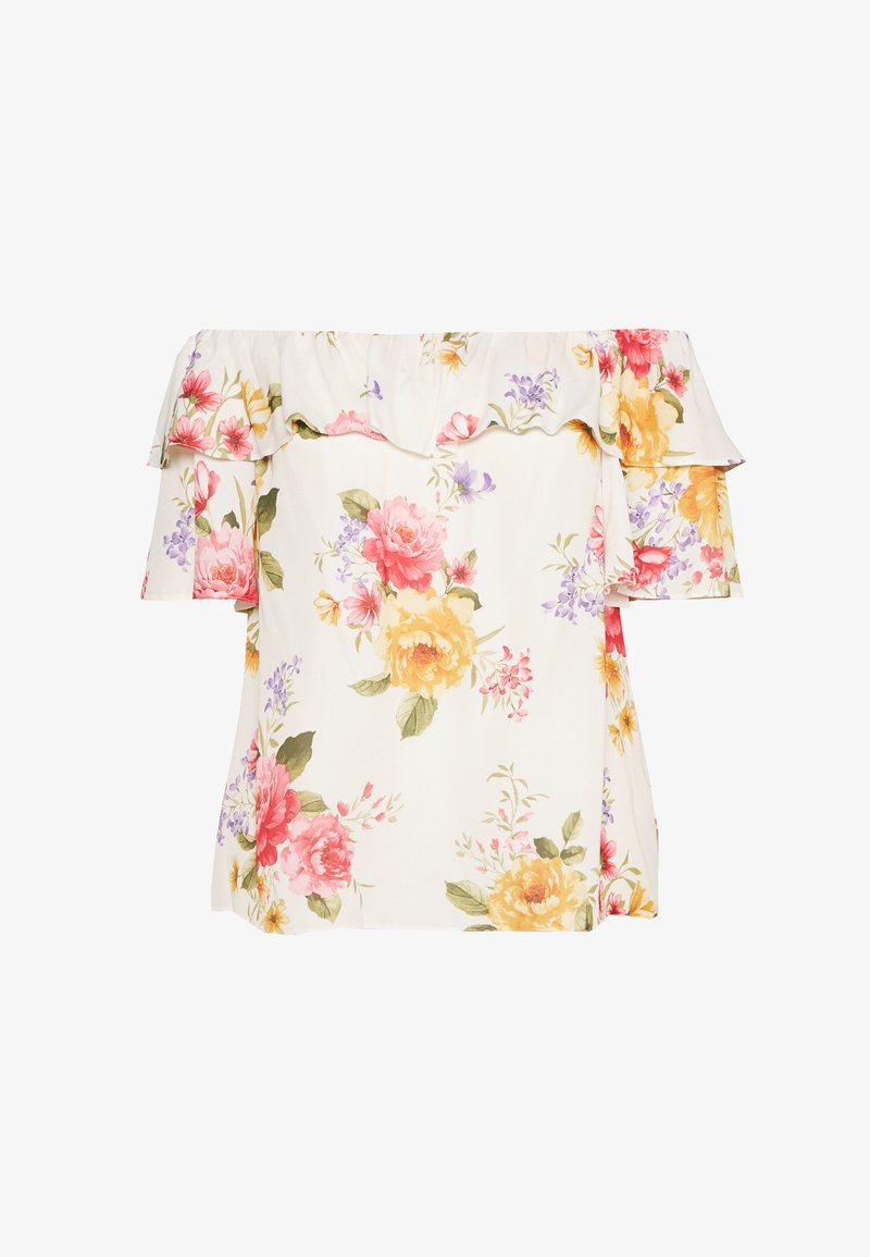 Dorothy Perkins Curve CURVE DOUBLE RUFFLE PRETTY FLORAL BARDOT TOP - Bluser - ivory
