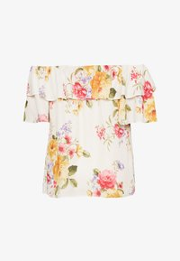 Dorothy Perkins Curve - CURVE DOUBLE RUFFLE PRETTY FLORAL BARDOT TOP - Blouse - ivory - 1