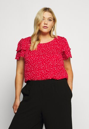 RUFFLE SHOULDER DOUBLE LAYER HEART - Bluser - red