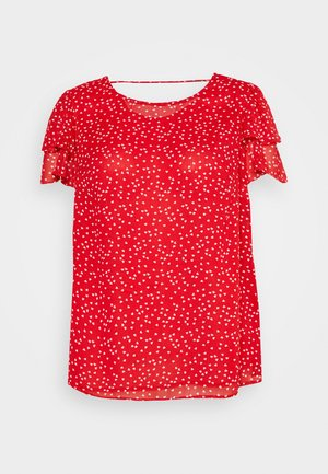RUFFLE SHOULDER DOUBLE LAYER HEART - Bluse - red