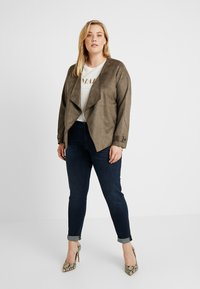 Dorothy Perkins Curve - WATERFALL JACKET - Giacca in similpelle - khaki - 1