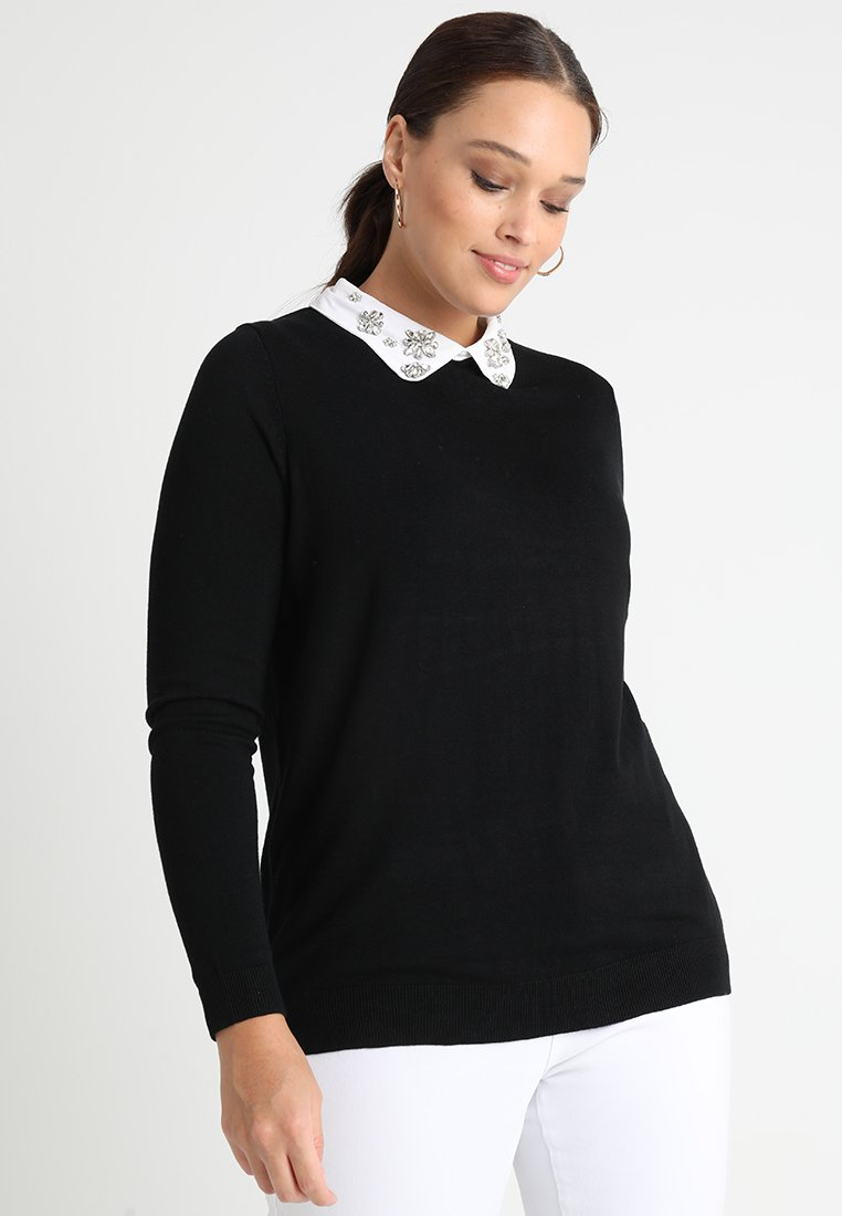 Dorothy Perkins Curve - ENCRUSTED COLLAR JUMPER - Strikkegenser - black