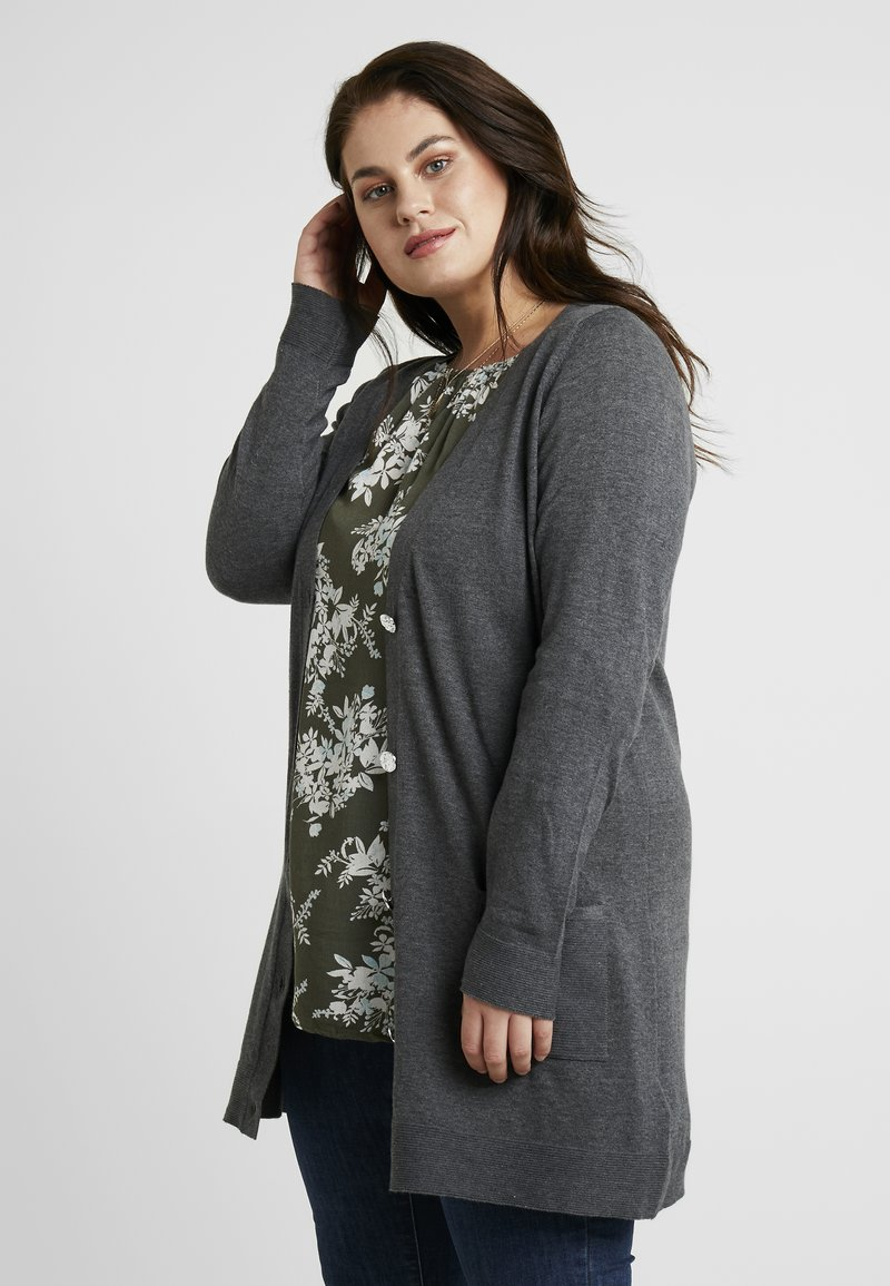 Dorothy Perkins Curve - BUTTON CUFF FINE GAUGE CARDIGAN - Vest - charcoal