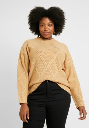 DIAMOND CABLE JUMPER - Neule - camel