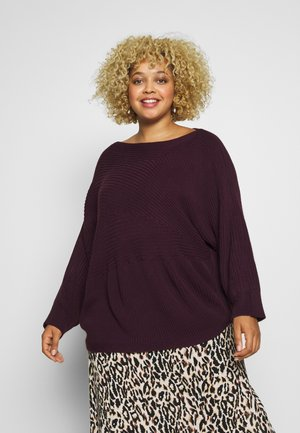 RIBBED BATWING JUMPER - Neule - oxblood