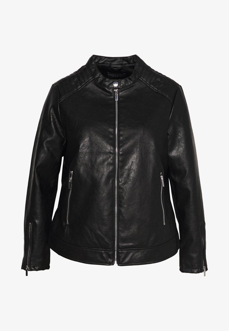 Dorothy Perkins Curve - COLLARLESS JACKET - Faux leather jacket - black