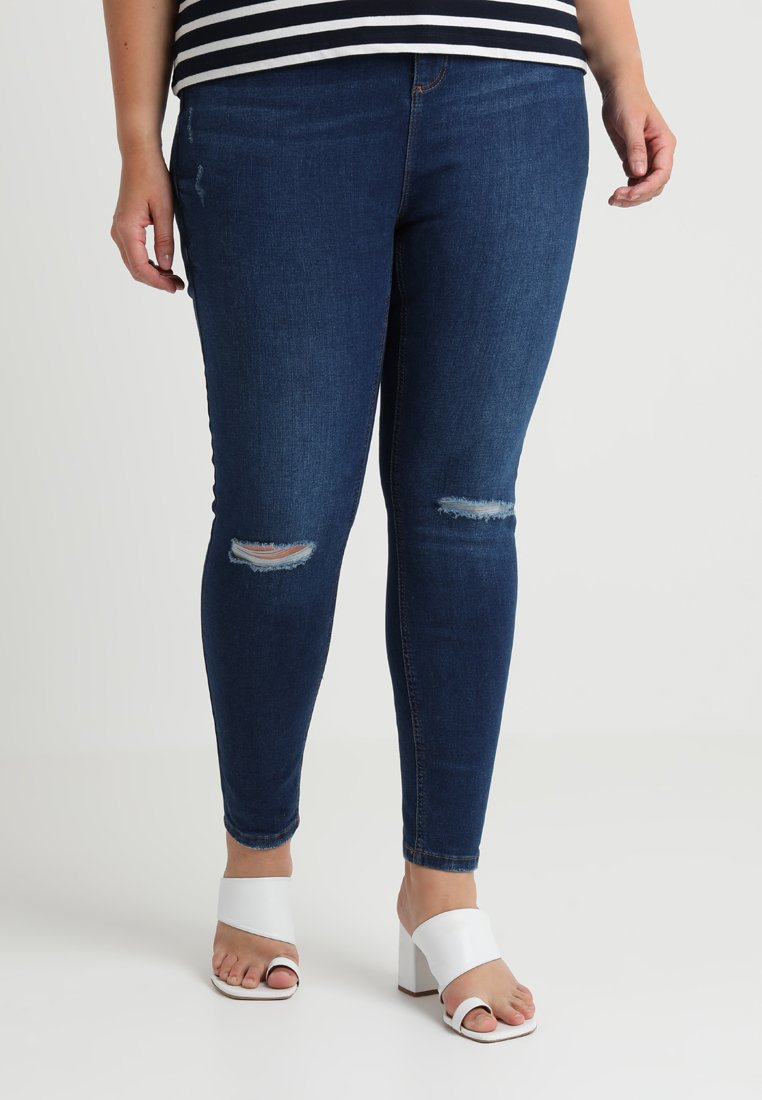 Dorothy Perkins Curve - DARCY WITH RIP KNEE - Jeans Skinny Fit - indigo