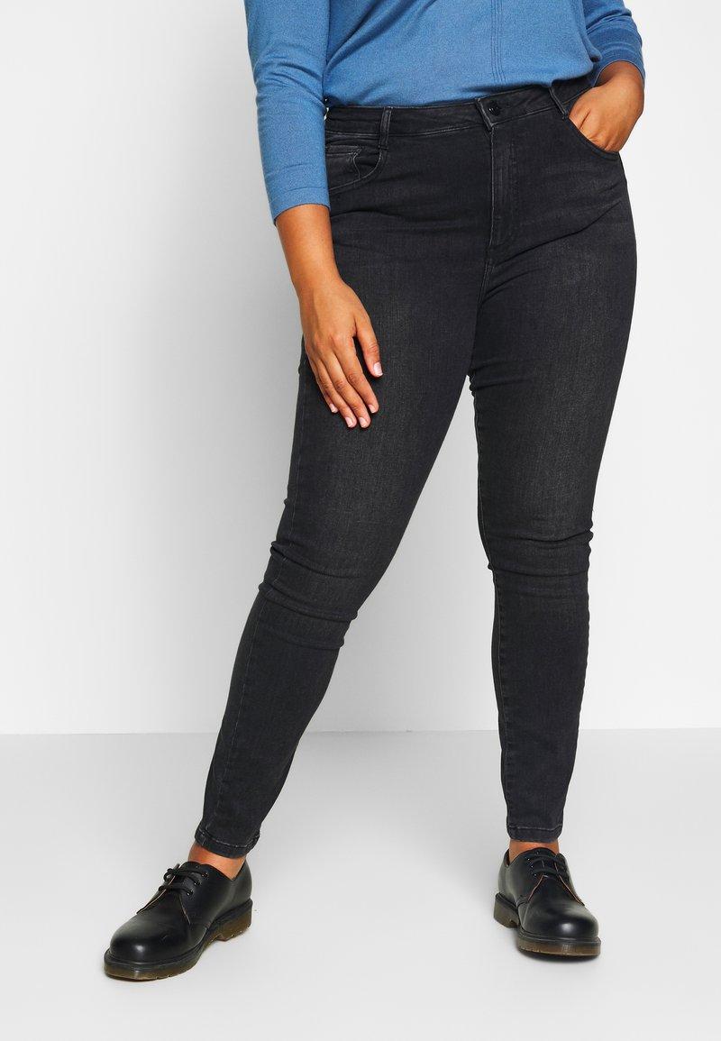 Dorothy Perkins Curve - WASHED ALEX - Jeans Skinny Fit - black