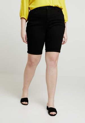 KNEE - Denim shorts - black
