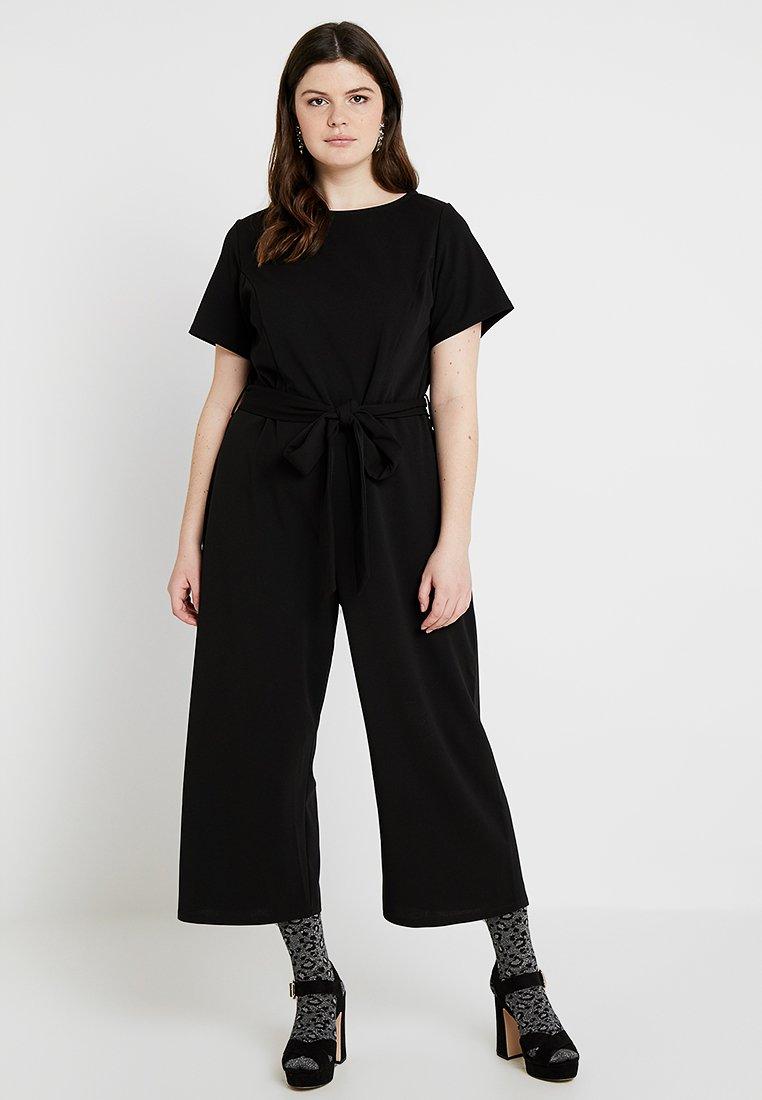 Dorothy Perkins Curve - SHORT SLEEVE BELTED - Jumpsuit - black