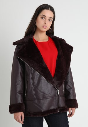 NEUTRAL - Faux leather jacket - burgundy
