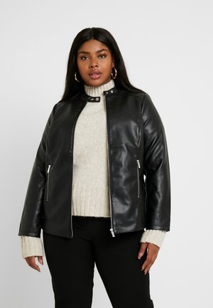 COLLARLESS JACKET - Imitatieleren jas - black