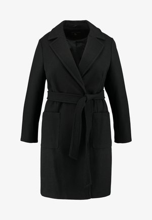 PATCH POCKET WRAP - Classic coat - black