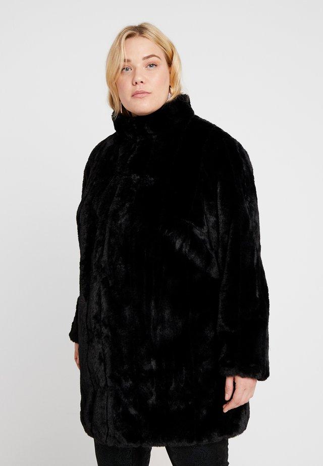 LONG LINE PELTED COAT - Płaszcz zimowy - black