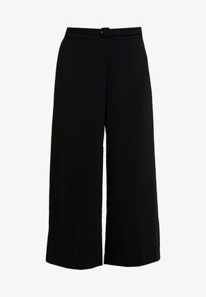 BELT WIDE LEG TROUSER - Pantalones - black