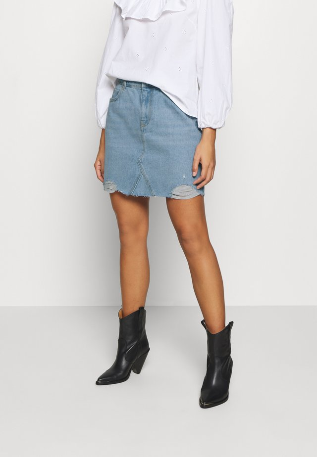 BLEACH FASHION SKIRT - A-lijn rok - light wash denim