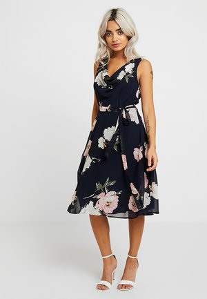 FLORAL MID DRESS WITH COWL AND RUFFLE HEM - Vardagsklänning - navy