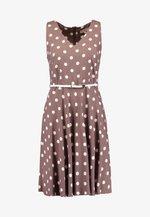 SLEEVELESS V NECK SPOT HARD BELT DRESS - Sukienka letnia - taupe