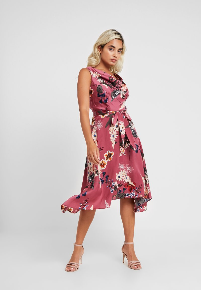 Dorothy Perkins Petite - FLORAL COWL NECK DRESS - Vardagsklänning - purple