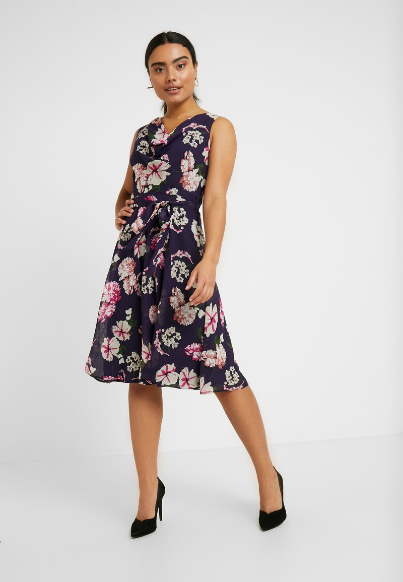 Dorothy Perkins Petite - BILLIE BLOSSOM FLORAL COWL NECK MIDI DRESS - Robe de soirée - navy