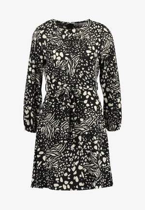 ABSTRACT PRINT FIT FLARE DRESS - Vapaa-ajan mekko - black