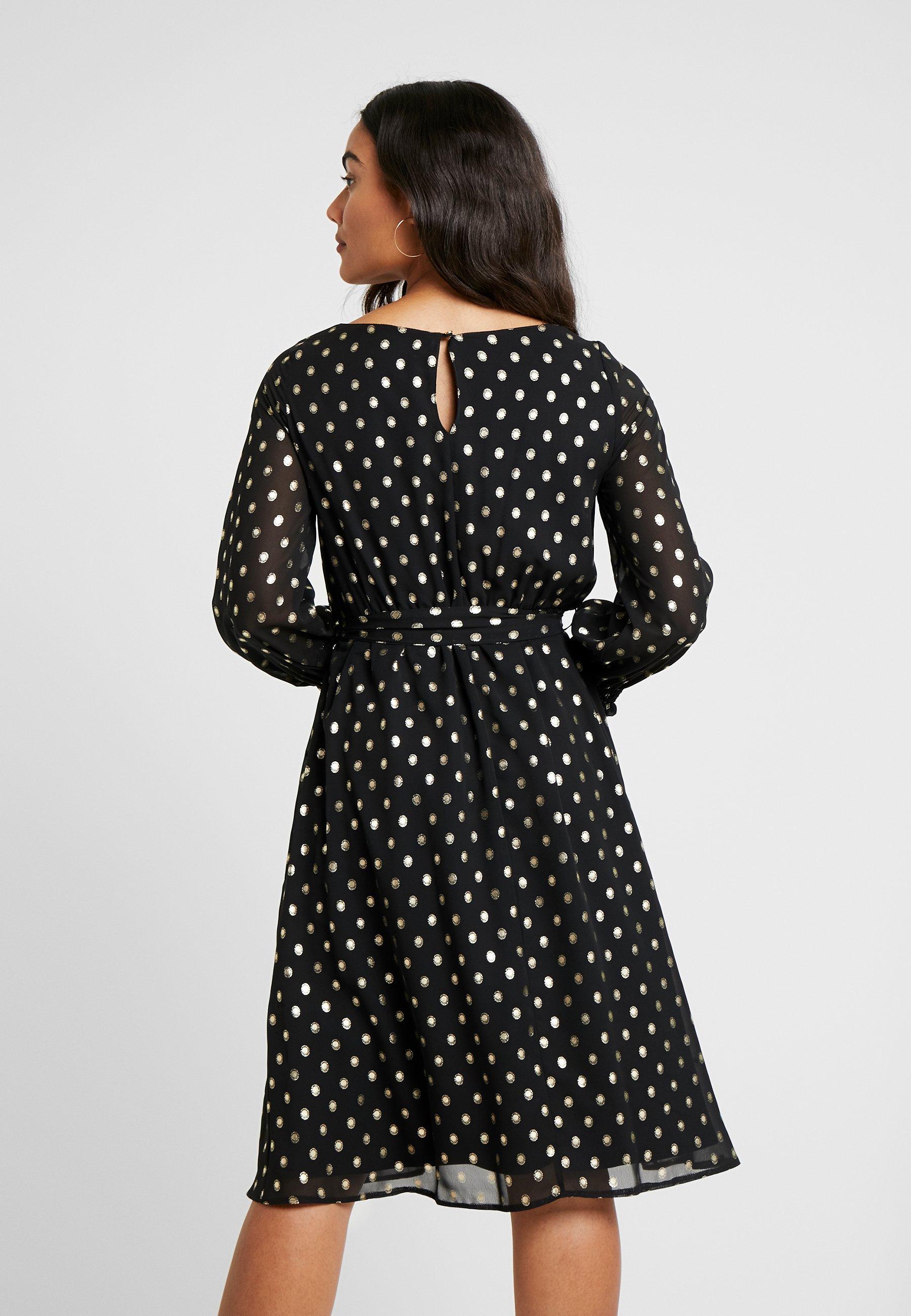 Dorothy Perkins Petite SPOT LONG SLEEVE SHIRRED CUFF MIDI DRESS - Vestito elegante black