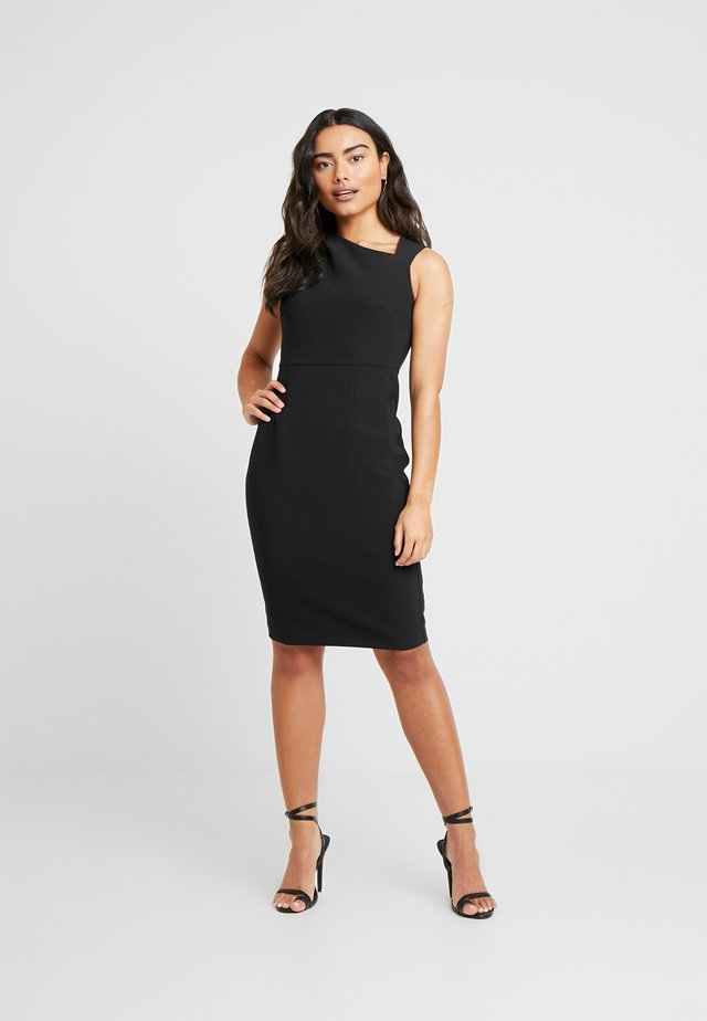 ASYM NECK DRESS - Shift dress - black